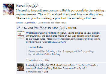 Worldwide Online Printing profiting off the LNP's demonisation of refugees, Karun comment + Worldwide response