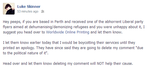 Worldwide Online Printing profiting off the LNP's demonisation of refugees, post-censorship status update.