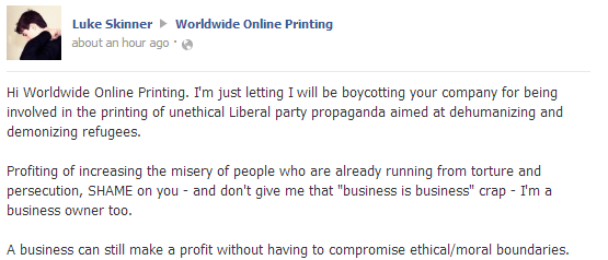 Worldwide Online Printing profiting off the LNP's demonisation of refugees, my comments.