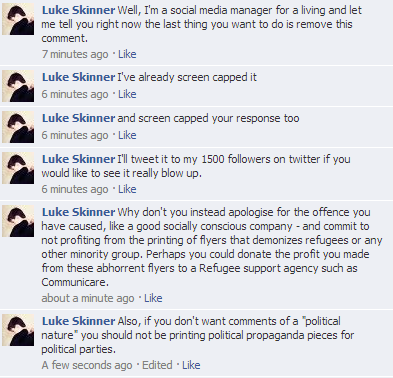 Worldwide Online Printing profiting off the LNP's demonisation of refugees, more of my comments.